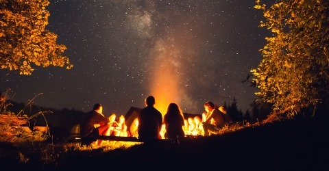 Campfire under the stars