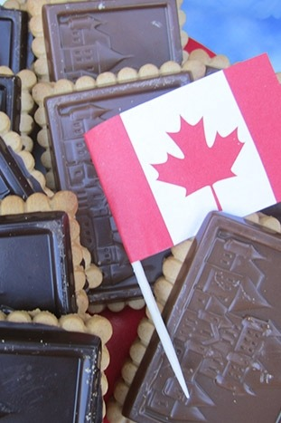 Canadian Flag and Chocolate Snacks