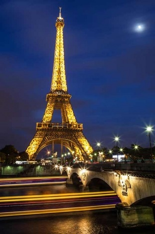 Eiffel Tower at Night - Seine River Cruise Bike Tour