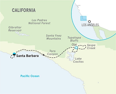 2021 Santa Barbara to Ojai map