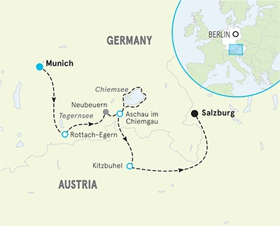 Munich to Salzburg biking tour map