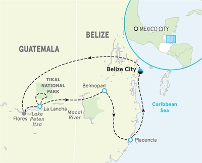 Belize and Guatemala Map