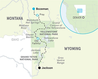 Yellowstone & Tetons map