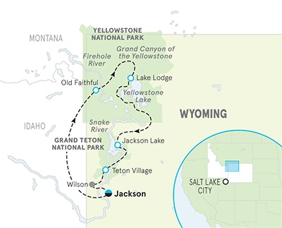 Yellowstone and Tetons Multi-Adventure Tour Map