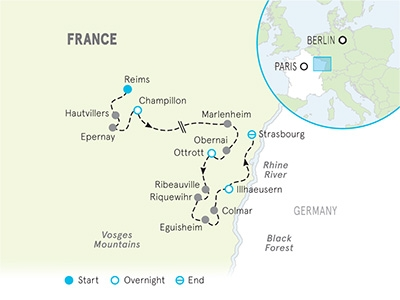 Champagne and Alsace Bike Tour Map