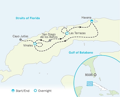 Cuba Bike Tour Map