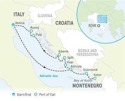Venice to Croatia Ocean Cruise map