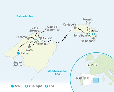 Mallorca and Menorca bike tour map