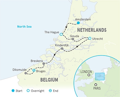 Netherlands & Belgium Family Bike Tour - Kids & Teens Map