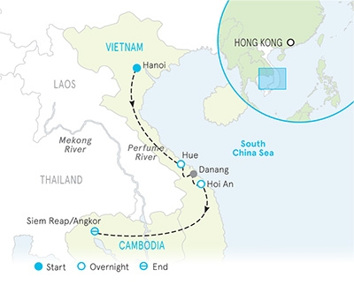 Vietnam & Cambodia Bike Tour Map