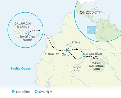 Galapagos, Andes and Amazon River Cruise map