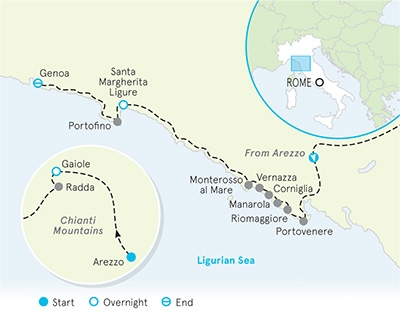 Cinque Terre and Tuscany walking tour map