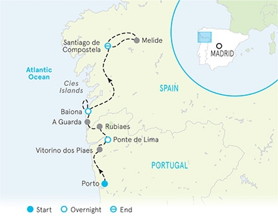 Portugal and Spain walking tour map